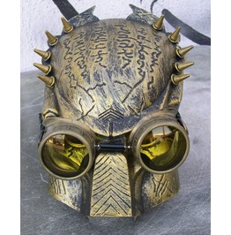 Distressed Gold Spiked Steampunk 'alien Vs Predator' Iron Man Style Villian Mask & Goggles Set Combination