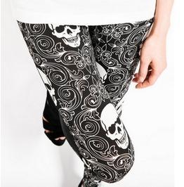 Regular Size Black/White Skull Printed Patchwork Pattern Leggings