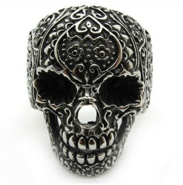 Stainless Steel Floral Skull Ring