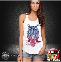 Fc0351 Ladies Girls Womans Vest Armoured Owl White Cotton Summer Tank Top Fashion