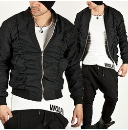 Avant Garde Unique Shirring Black Jersey Jacket 101