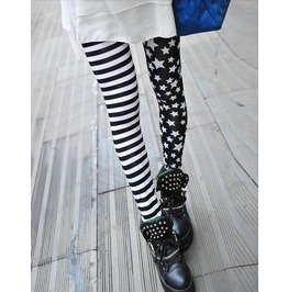 Black/White Stripes Stars Stretchy Printed Leggings