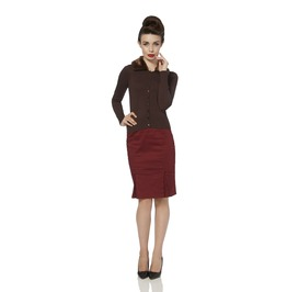 Voodoo Vixen Faux Fur Collar Brown Cardigan
