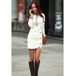 Slim Fit Side Buttons Decorate Short White Dress
