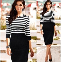 Black White Stripes Slim Fit Long Dress