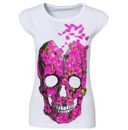 Regular/Plus Size White/Pink Skull Printed Sleeveless T Shirt Women