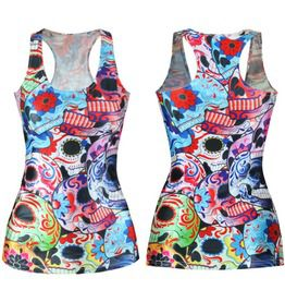 Women Graphic Printed Skull Cartoon Shirt Top Tank Sleeveless