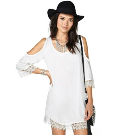 Crochet Border Cut Sleeves White Short Dress