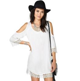 Crochet Border Cut Sleeves White Short Dress