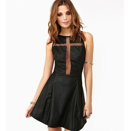 Cross chest hollow out sleeveless synthetic leather black minidress dresses 7