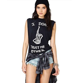 Skeleton Hand Printed 'i Don't Trust Either' Sleeveless Hollow Top Tee