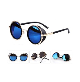 Vintage Round Sunglasses With Side Shields