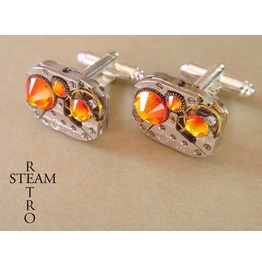 V Mens Steampunk Steampunk Swarovski Fire Opal Cufflinks Vintage Watch Movements. Wedding Cufflinks Vintage Upcycled Mens Cuff Links