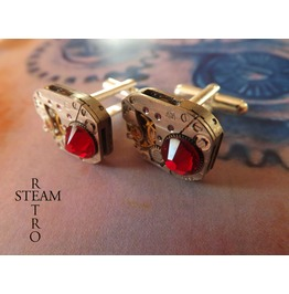 10% Code:Xmas14 Mens Steampunk Steampunk Swarovski Red Siam Cufflinks Vintage Watch Movements. Wedding Cufflinks Vintage Upcycled Mens Cuff Links