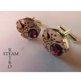 10% Code:Xmas14 Mens Amethyst Cufflinks Steampunk Cufflinks Best Man Gifts Steampunk Accessories Wedding Cufflinks Cufflinks