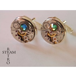 10% Code:Xmas14 Steampunk Vitrail Green Cufflinks Steamretro Men Jewelry Steamretro, Men Cufflinks