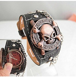 Skull Cover Designed Leather Band Analog Wristwatch