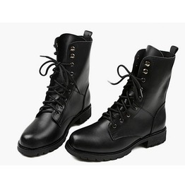 Black Lace Up/Mid Calf Solid Pu Leather Winter Boots