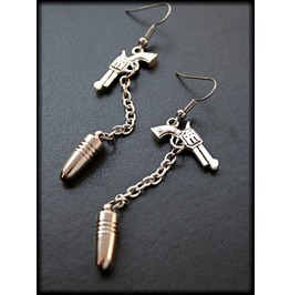One Shot Silver Pistol Bullet Earrings