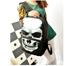 Huge Skull/Skeleton Printed Black White Backpack/School Bag