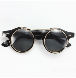 Flip Open Black/Gold Retro Goth Steampunk Sunglasses