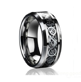 Silver/Gold Engraved Steel Gothic Men's Ring