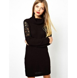 Gothic Black Sheer Sweater Dress