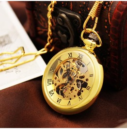 Vintage Look Gold See Hand Winding Pocket Watch