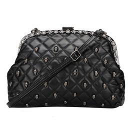 Black Faux Leather Crystals Skulls Purses/Handbags