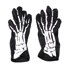 Skeleton Bones X Ray Black/White Elastic Goth Gloves
