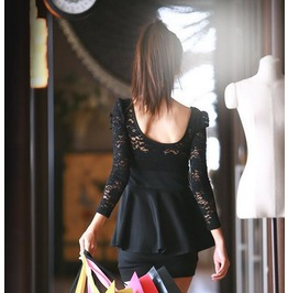 Casual Black Dress Lace Long Sleeve