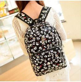 Skull Punk Korean Style Backpack Schoolbag Travel Bag Rucksack Satchel Black Color