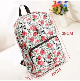 Unisex Skull Punk Korean Style Backpack Schoolbag Travel Bag Rucksack  Satchel Red Color a7abff2cd5f3d