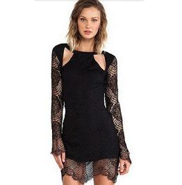 Black Lace Long Sleeve Minidress
