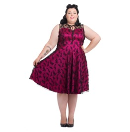 Voodoo Vixen Floral Flocked Taffeta Plus Size Dress