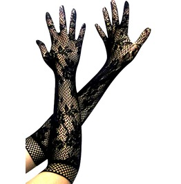 Cool Long Black Lacy Gloves Fishnet Tops