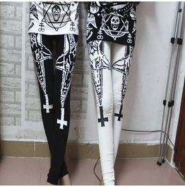 Black/White Star Cross Printed Leggings