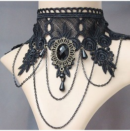 Black Queen Elegant Gothic Lolita Steampunk Choker Necklace