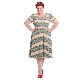 Voodoo Vixen Polka Dot Floral Knit Plus Size Dress