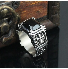 Mens Stainless Steel Cross Ring With Black Gem