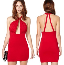 Sexy Cross Straps Backless Slim Fit Red Short Dress