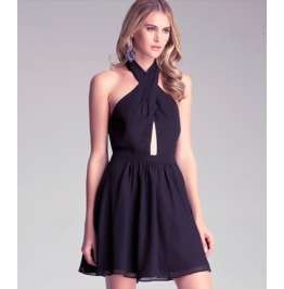 Sexy Cross Straps Backless Slim Fit Black Short Dress