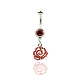 Awesome! Scarlet Red Rose Crystal Belly Bar
