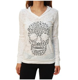 Leopard Skull Ladies Burnout Pullover Hoodie White