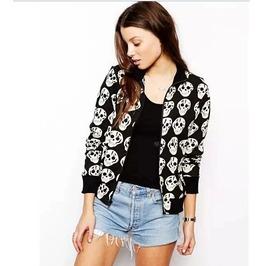 Black/White Regular Length Skull Printed Slim Women Jacket