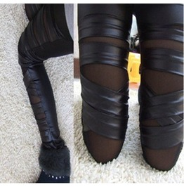 Cross Straps Mesh Pantyhose Wrap Leggings