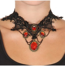 Vintage Style Gothic Necklace Ornate Black Lace Collar Red Glaring Crystal