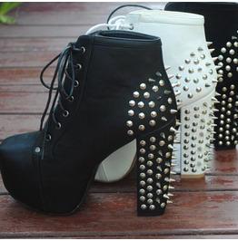 Hot Platform Spiked Ankle Boots 9212 D L