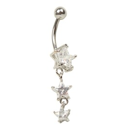 Awesome! Crystal Star Surgical Steel Belly Bar