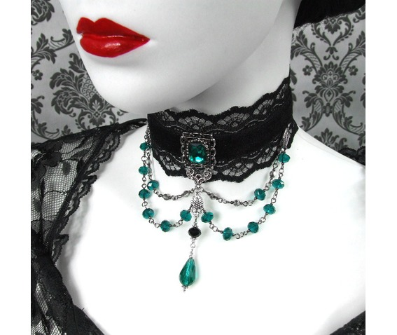 gothic_emerald_choker_vampire_necklace_accessories_cosplay_party_black_wedding_necklaces_5.JPG